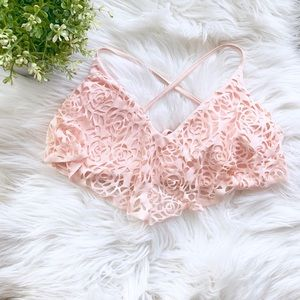 Xhilaration Floral Overlay Bikini Top | Small